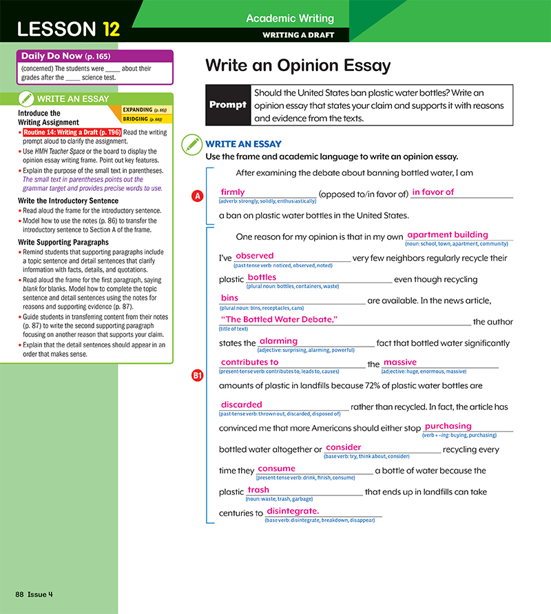 essay writing daily activities