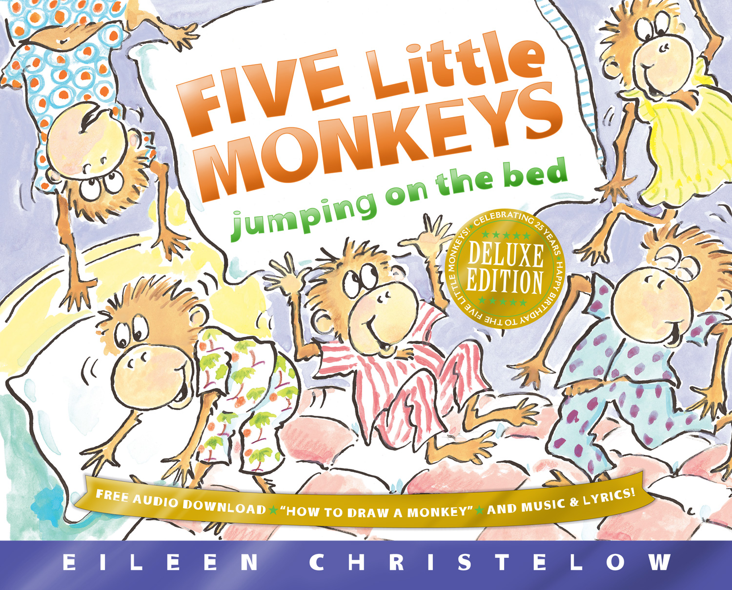 Five Little Monkeys Jumping on the Bed 25th Anniversary Edition-9780544283299