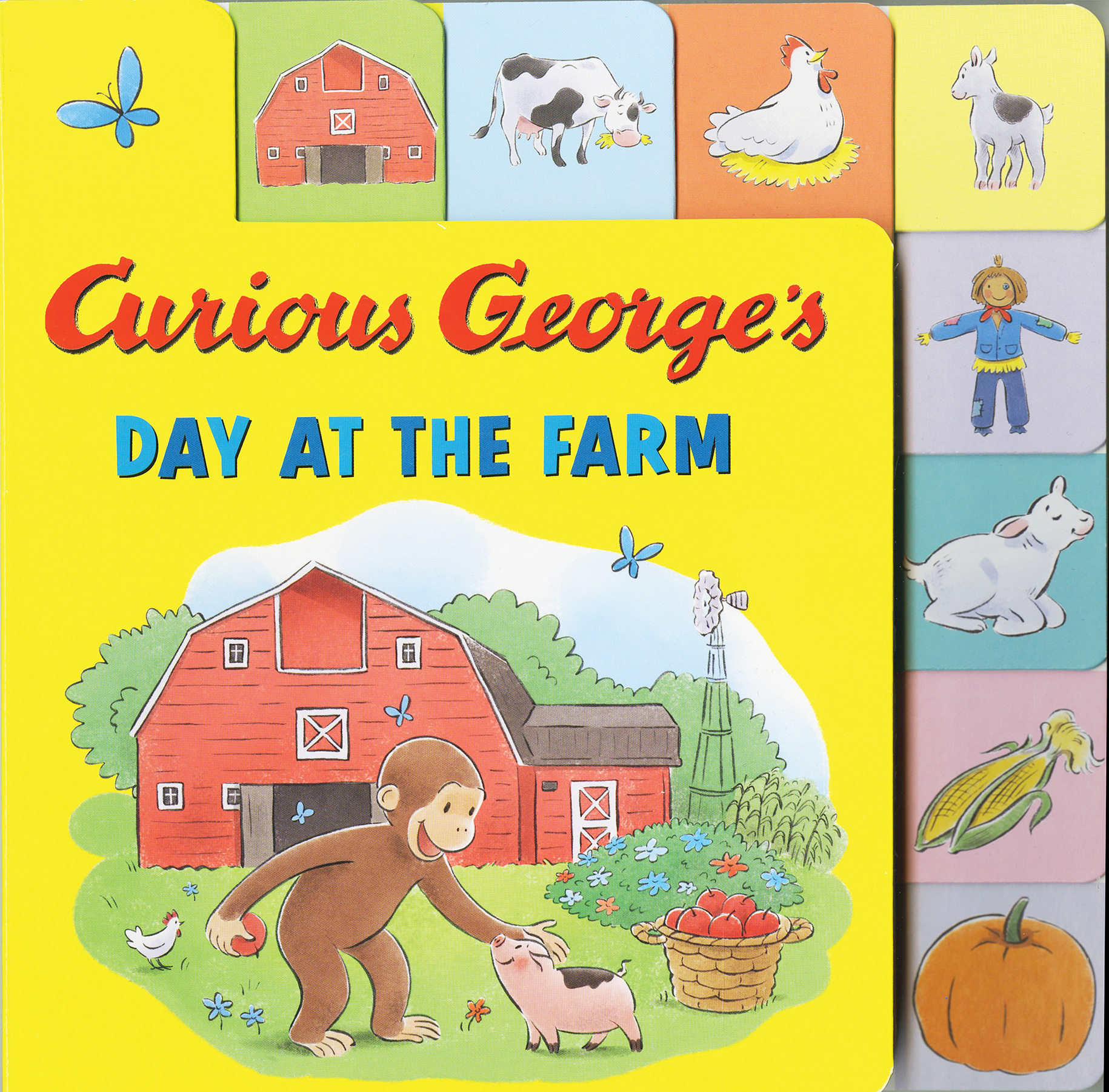 Curious George's Day at the Farm (tabbed lift-the-flap)-9780544988743