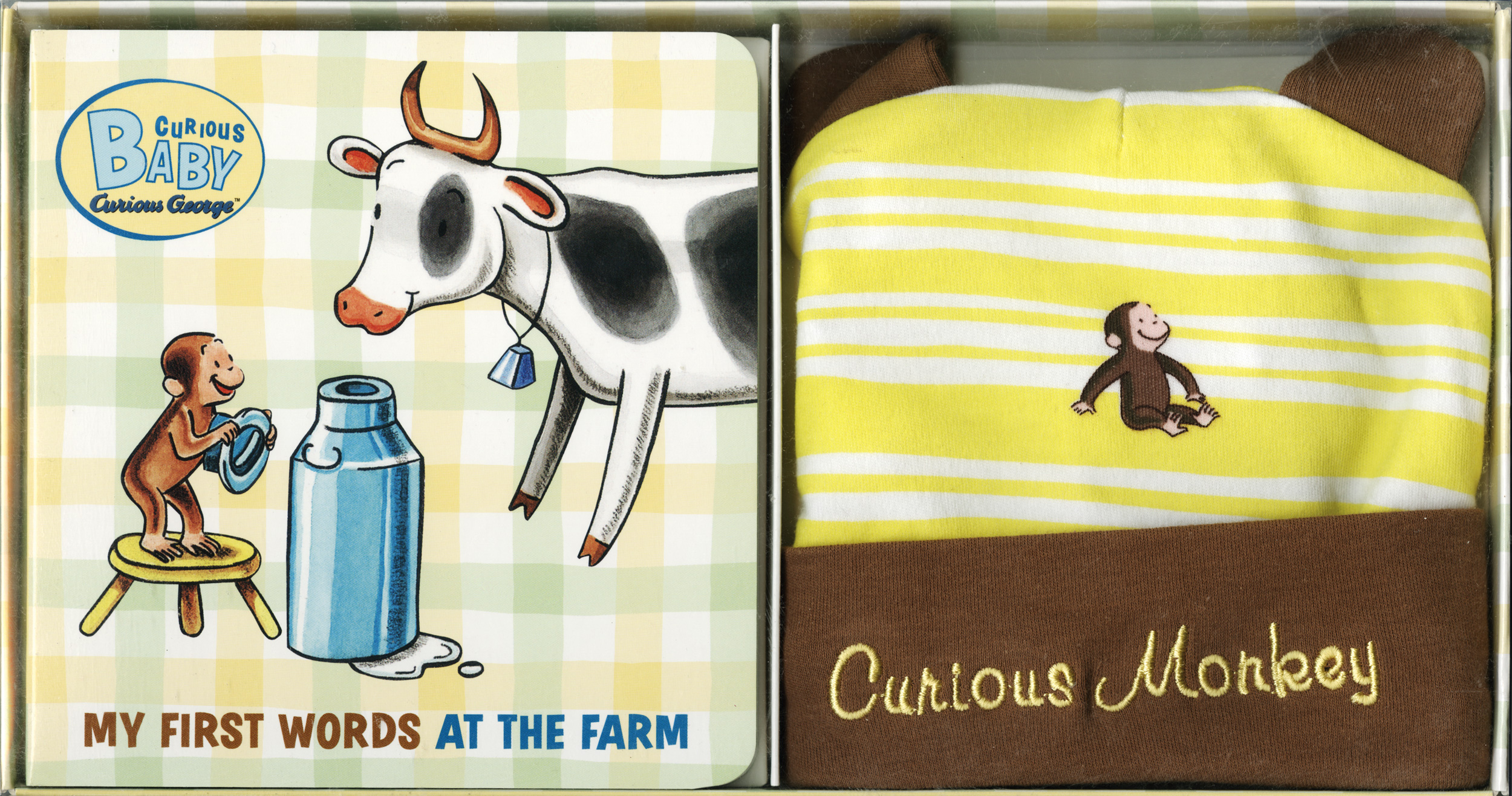 Curious Baby My First Words at the Farm Gift Set (Curious George Book & Hat)-9780547243061