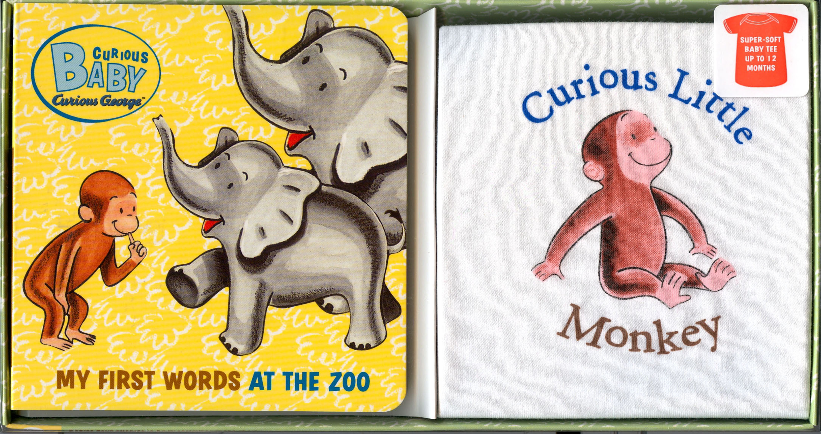 Curious Baby My First Words at the Zoo Gift Set (Curious George Book & T-shirt)-9780618999538