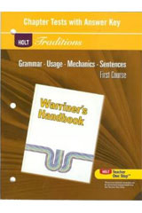 Holt Traditions Warriner's Handbook  Chapter Tests With Answer Key Grade 7 First Course-9780030998447
