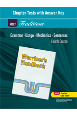 Holt Traditions Warriner's Handbook  Chapter Tests With Answer Key Grade 10 Fourth Course-9780030998478