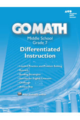 Go Math!  Differentiated Instruction Resource Grade 7-9780544066380