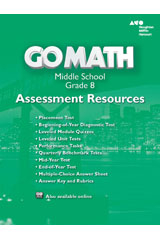 Go Math!  Assessment Resource with Answers Grade 8-9780544066717