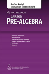 Holt McDougal Larson Pre-Algebra Common Core Are You Ready? Intervention and Enrichment with Answers