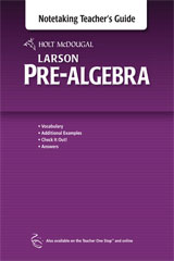 Holt McDougal Larson Pre-Algebra  Teacher's Notetaking Guide-9780547614489