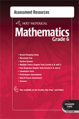 Holt McDougal Mathematics  Common Core Assessment Resources with Answers Grade 6-9780547686783