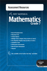 Holt McDougal Mathematics  Common Core Assessment Resources with Answers Grade 7-9780547686868