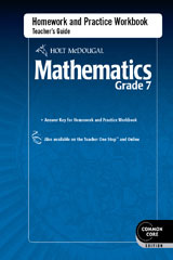 Holt McDougal Mathematics  Homework and Practice Workbook Teacher's Guide Grade 7-9780547686882
