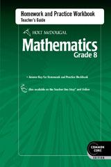 Holt McDougal Mathematics  Homework and Practice Workbook Teacher's Guide Grade 8-9780547686899