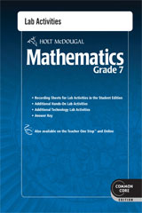 Holt McDougal Mathematics  Common Core Lab Activities with Answers Grade 7-9780547686929