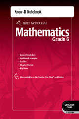 Holt McDougal Mathematics  Know-It Notebook Grade 6-9780547687674