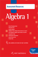 Holt McDougal Algebra 1  Common Core Assessment Resources with Answers-9780547710303