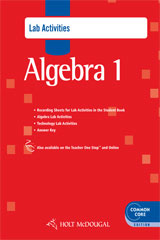 Holt McDougal Algebra 1  Common Core Lab Activities with Answers-9780547710402