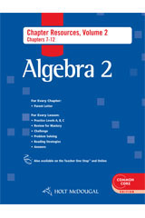 Holt McDougal Algebra 2  Chapter Resource Book with Answers Volume 2-9780547710600