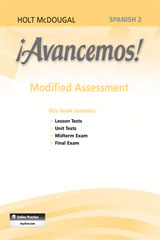 ¡Avancemos!  Modified Assessment Level 2-9780547906409