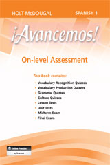 ¡Avancemos!  Assessment On-Level Level 1A Level 1B, and Level 1-9780547906713