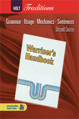Holt Traditions Warriner's Handbook  Language and Sentence Skills Practice Answer Key Second Course Grade 8-9780554000725