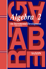 Saxon Algebra 2  Homeschool Kit w/Solutions Manual Third Edition-9781600329722