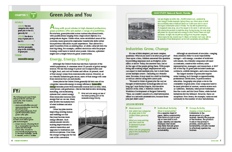 green jobs lesson pages