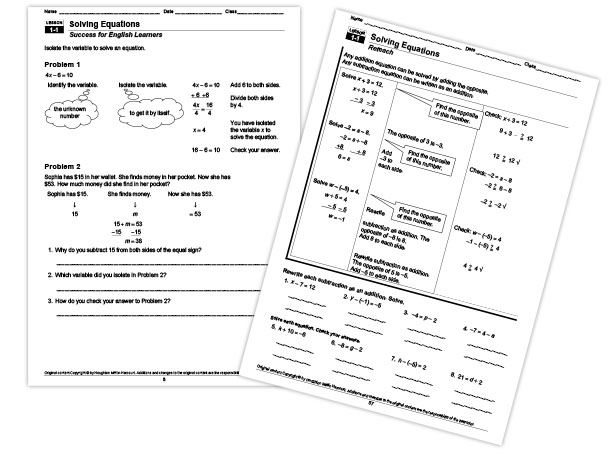 English Worksheets Houghton Mifflin English Worksheets – Integrated Math 2 Worksheets