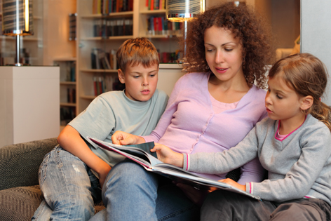 Mom reading with kids