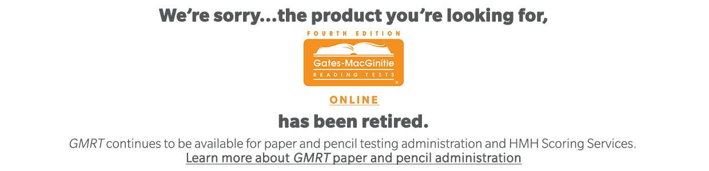 Gates-MacGinitie Online Reading Test (GMRT) | HMH